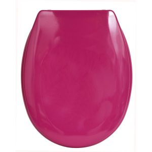 "Slow-Close Quiet Oval Elongated Toilet Seat Solid Shiny Gray 17.48""x14.64"", Pink"