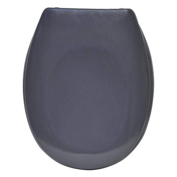 "Slow-Close Quiet Oval Elongated Toilet Seat Solid Shiny Gray 17.48""x14.64"", Gray"