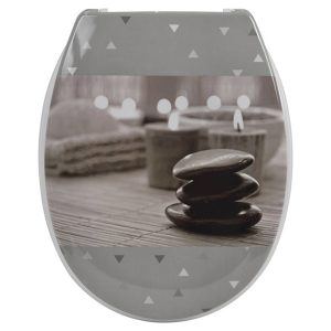 Printed Duroplast Oval Elongated Toilet Seat Design, Zen Garden 17x14.6 W