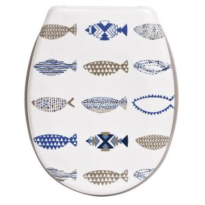 "Printed Duroplast Oval Elongated Toilet Seat Design 17""x14.6"", Nautical"