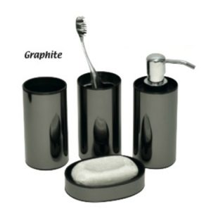 Mirror Effect Bathroom Accessory Set, 4-Piece Set,Graphite
