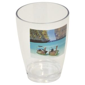 Paradise Clear Acrylic Printed Bathroom Tumbler