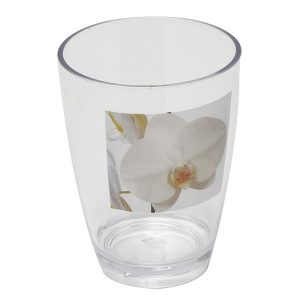 Clear Acrylic Printed Bathroom Tumbler Purity Orchid