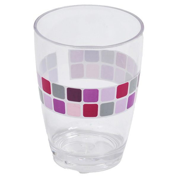 Mosaic Clear Acrylic Printed Bathroom Tumbler