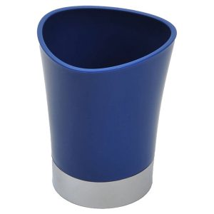Bathroom Tumbler Toothbrush Holder Chrome Base - Navy Blue