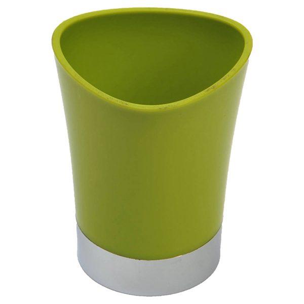 Bathroom Tumbler Toothbrush Holder Chrome Base - Lime Green