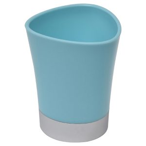 Bathroom Tumbler Toothbrush Holder Chrome Base - Aqua Blue
