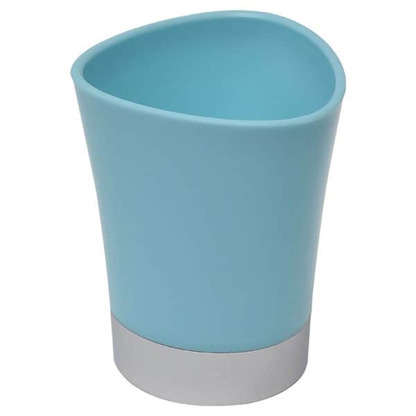 Bathroom Tumbler Toothbrush Holder Chrome Base - Aqua Blue