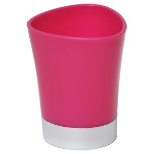 Bathroom Tumbler Toothbrush Holder Chrome Base - Pink
