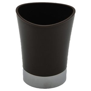 Bathroom Tumbler Toothbrush Holder Chrome Base - Brown