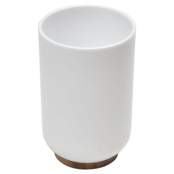 Vanity Bathroom Water Tumbler PADANG White - Bamboo Base