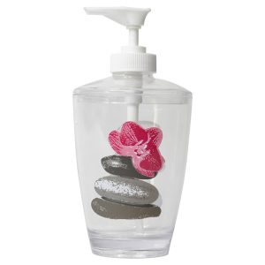 Clear Acrylic Printed Bathroom Soap and Lotion Dispenser Spa