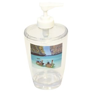 Paradise Clear Acrylic Printed Bathroom Soap and Lotion Dispenser
