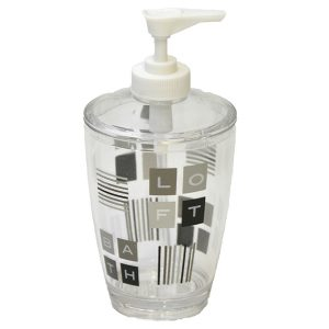 Peace and Loft Clear Acrylic Printed Bathroom Soap and Lotion Dispenser