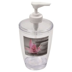 Chic and Zen Clear Acrylic Printed Bathroom Soap and Lotion Dispenser