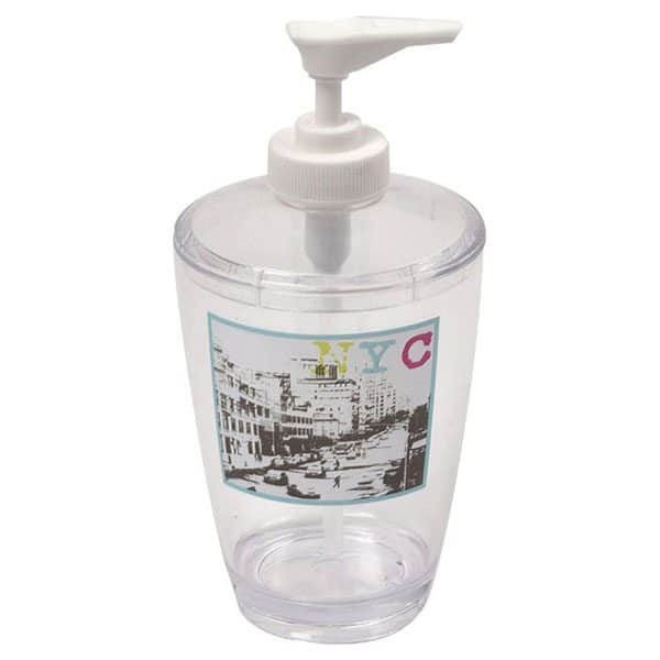 Urban NYC Clear Acrylic Printed Bathroom Soap and Lotion Dispenser