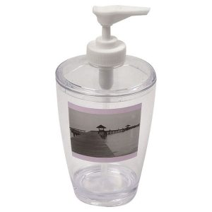 Seaside Clear Acrylic Printed Bathroom Soap and Lotion Dispenser