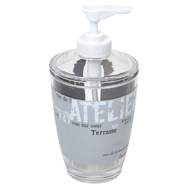 Atelier Loft Clear Acrylic Printed Bathroom Soap and Lotion Dispenser