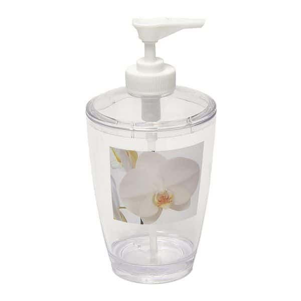 Purity Orchid Clear Acrylic Printed Bathroom Soap and Lotion Dispenser