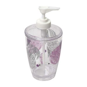 Clear Acrylic Printed Bathroom Soap and Lotion Dispenser VALENTINE