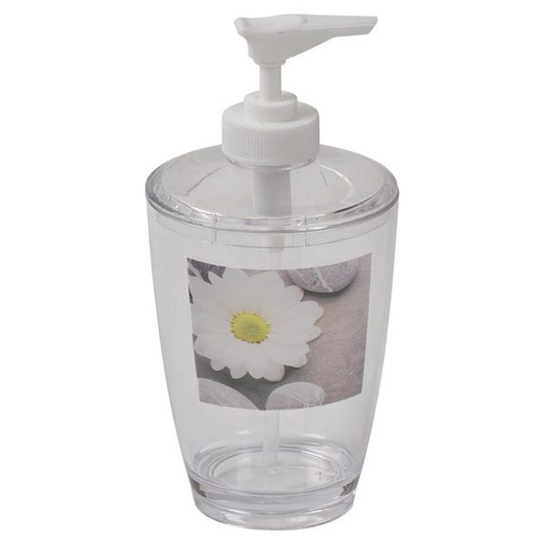 Clear Acrylic Printed Bathroom Soap and Lotion Dispenser Zen Garden