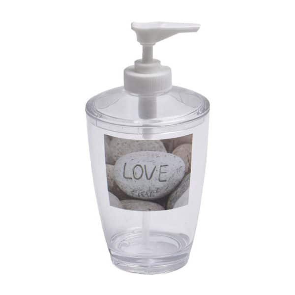 Clear Acrylic Printed Bathroom Soap and Lotion Dispenser Design Nature