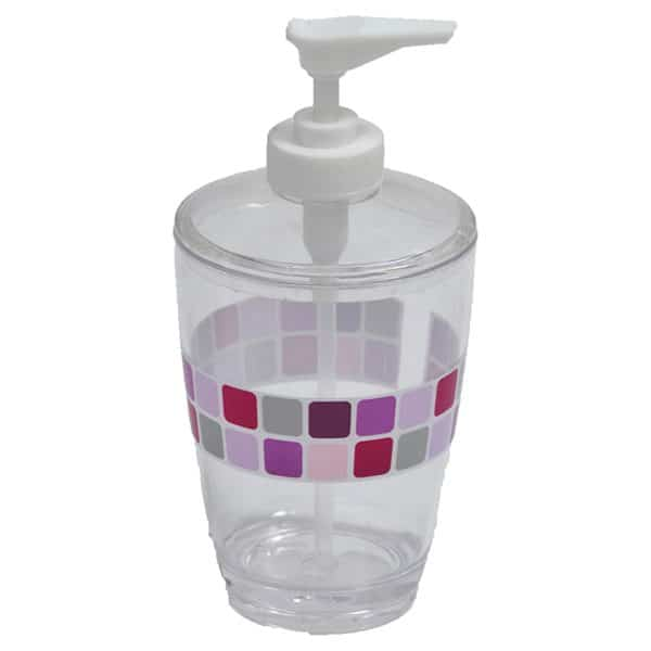 Mosaic Clear Acrylic Printed Bathroom Soap and Lotion Dispenser