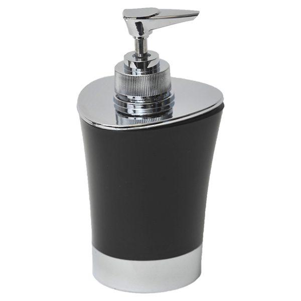 Bathroom Soap and Lotion Dispenser -Chrome Parts- Black