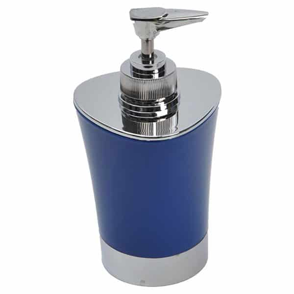Bathroom Soap and Lotion Dispenser -Chrome Parts- Navy Blue