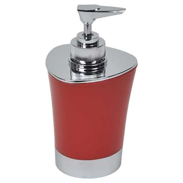 Bathroom Soap and Lotion Dispenser -Chrome Parts- Red