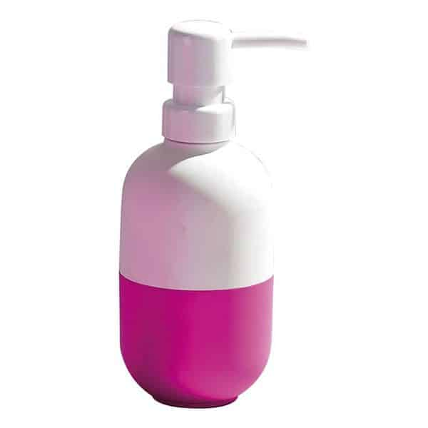 Two-colored Bathroom Soap and Lotion Dispenser Soft Velvet Touch White/Fuchsia