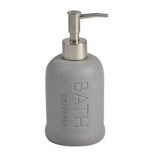 Stoneware Bathroom Soap Dispenser BATH Sand Stone Effect grey