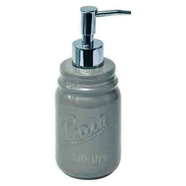 Mason Jar Collection Bathroom Soap and Lotion Dispenser Taupe
