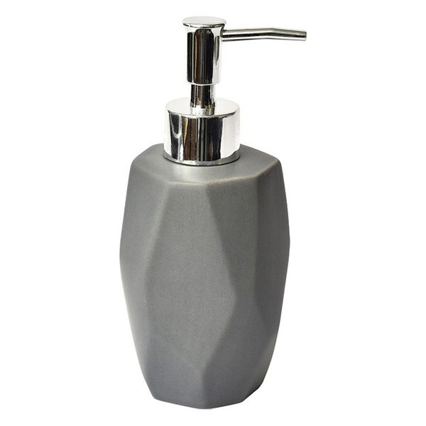 Collection Diamond Bathroom Soap and Lotion Dispenser Stoneware Grey