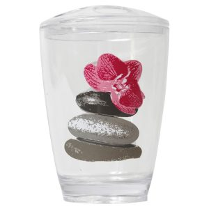 Clear Acrylic Printed Toothbrush & Toothpaste Holder Spa Pink