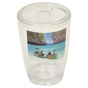 Paradise Clear Acrylic Printed Bathroom Toothbrush and Toothpaste Holder