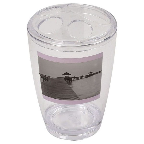 Seaside Clear Acrylic Printed Bathroom Toothbrush and Toothpaste Holder