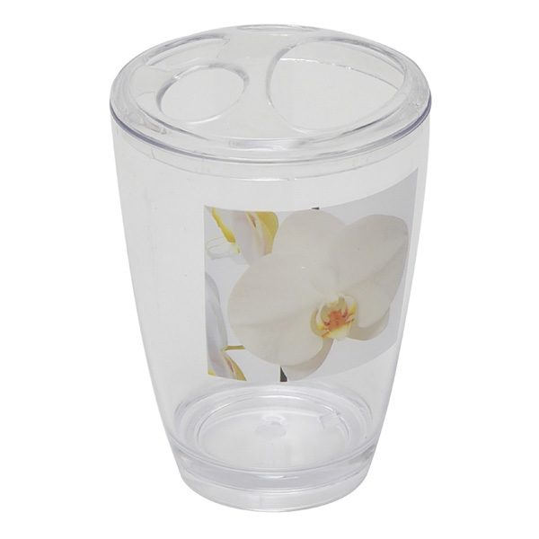 Clear Acrylic Printed Bathroom Toothbrush and Toothpaste Holder Purity Orchid