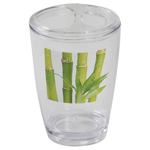 Clear Acrylic Printed Toothbrush and Toothpaste Holder Zen and Co