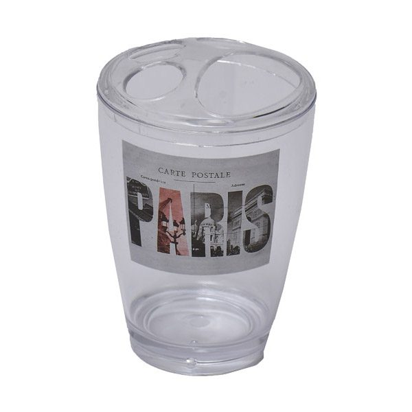 Clear Acrylic Printed Toothbrush and Toothpaste Holder Paris City