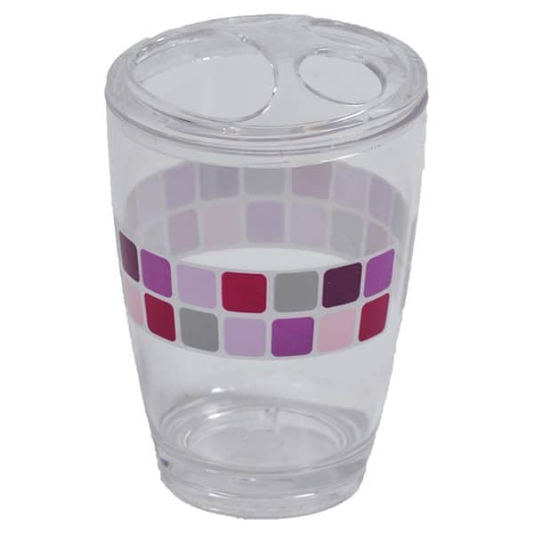 Mosaic Clear Acrylic Printed Bathroom Toothbrush and Toothpaste Holder