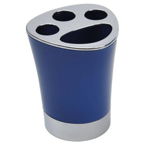Bathroom Toothbrush and Toothpaste Holder -Chrome Parts- Navy Blue