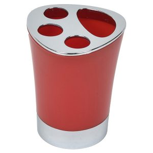 Bathroom Toothbrush and Toothpaste Holder -Chrome Parts- Red