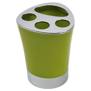 Bathroom Toothbrush and Toothpaste Holder -Chrome Parts- Lime Green