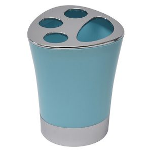 Bathroom Toothbrush and Toothpaste Holder -Chrome Parts- Aqua Blue