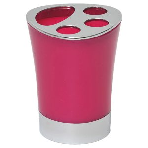 Bathroom Toothbrush and Toothpaste Holder -Chrome Parts- Pink