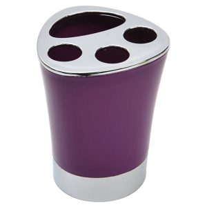 Bathroom Toothbrush and Toothpaste Holder -Chrome Parts -Purple