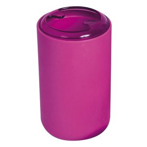 Bathroom Toothbrush and Toothpaste Holder Soft Touch DESIGN with Clear Open Top Pink Fuchsia