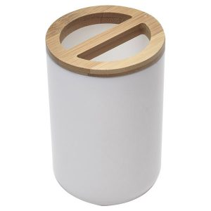 Bathroom Toothbrush and Toothpaste Holder PADANG White - Bamboo Top