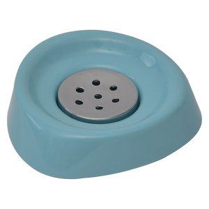 Bathroom Soap Dish Cup -Chrome Parts- Aqua Blue